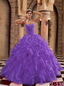 2013 New Style Purple Ruffled Organza Quinceanera Dresses