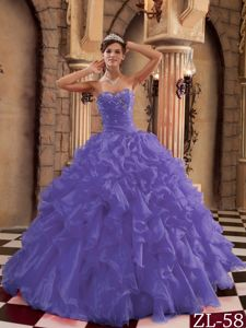 Dark Purple Ball Gown Dress for Quince with Ruffles
