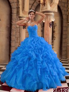 Blue Sweetheart Organza Ruffled Dress for Quinceaneras