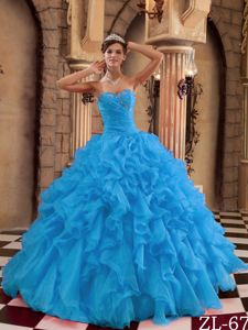Aqua Blue Ruched Organza Dress for Quince with Ruffles