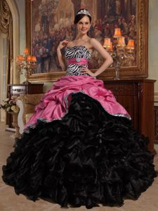 Coral Red and Black Taffeta and Organza Dress for Quince