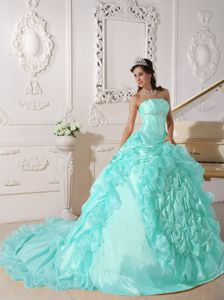 Baby Blue Taffeta Quinceanera Dresses with Train and Pick Ups