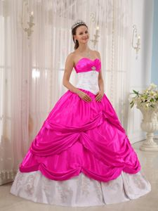 Hot Pink and White Taffeta Floor-length Quinceanera Dresses