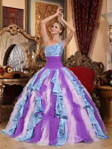 Multi Color One Shoulder Dress for Quinceaneras with Ruffles Beyonce dress