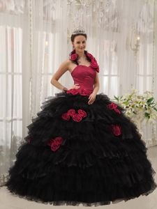 Red and Black Halter Quince Dress with Flowers and Flowers