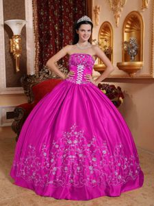 Fuchsia Ball Gown Embroidery Sweet Sixteen Dresses Floor-length