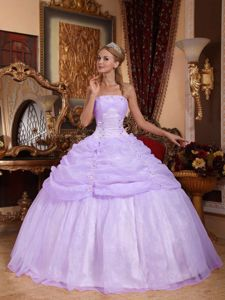 Modest Organza Lilac Strapless Dress for Sweet 16 with Appliques