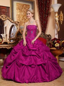 Strapless Beaded Bodice Fuchsia Quinceanera Dress with Pick-ups