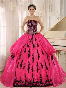 Hot Pink Strapless Dress for Sweet 16 with Appliques New Arrival