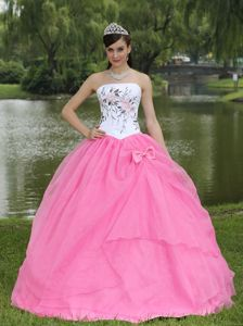 White and Pink Strapless Dress for Quinceanera with Embroidery