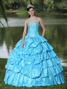 Best Strapless Beading Aqua Blue Dress for Quince with Pick-ups