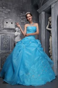 Organza Aqua Blue Strapless Dress for Sweet 16 with Embroidery