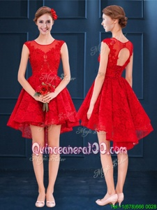 Fashionable Scoop Red Lace Up Quinceanera Dama Dress Lace Sleeveless High Low