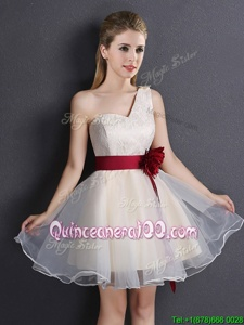 Wonderful Champagne Lace Up One Shoulder Lace and Hand Made Flower Court Dresses for Sweet 16 Organza Sleeveless