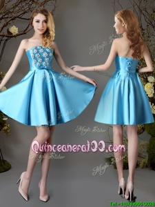 Modest Sleeveless Satin Mini Length Lace Up Court Dresses for Sweet 16 inBaby Blue forSpring and Summer and Fall withAppliques and Bowknot