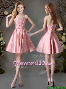 Artistic Pink A-line Strapless Sleeveless Satin Mini Length Lace Up Appliques and Bowknot Dama Dress for Quinceanera