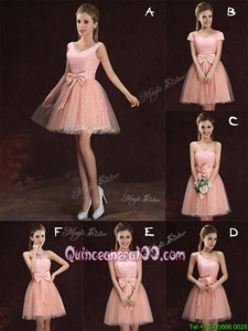 Sweet Peach V-neck Neckline Lace and Bowknot Dama Dress Sleeveless Lace Up