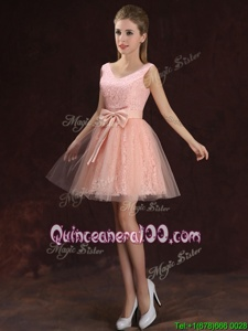 Most Popular Peach Sleeveless Tulle and Lace Lace Up Dama Dress forProm and Party