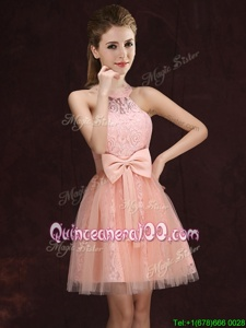 Glorious Halter Top Sleeveless Lace Up Mini Length Lace and Bowknot Quinceanera Court Dresses