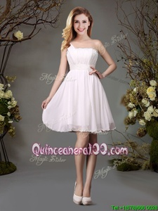 Low Price Empire Vestidos de Damas White One Shoulder Chiffon Sleeveless Mini Length Zipper