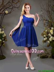 One Shoulder Royal Blue Sleeveless Beading and Ruching Mini Length Court Dresses for Sweet 16
