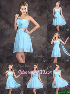 Sweet Baby Blue Zipper Quinceanera Court Dresses Ruffles and Sequins and Ruching and Bowknot and Hand Made Flower Sleeveless Mini Length