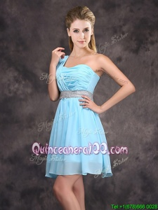 One Shoulder Sleeveless Damas Dress Mini Length Sequins and Ruching Baby Blue Chiffon