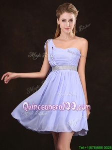 Admirable One Shoulder Lavender Sleeveless Mini Length Sequins and Ruching Zipper Dama Dress