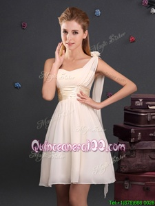 Charming Champagne One Shoulder Zipper Ruching and Hand Made Flower Damas Dress Sleeveless
