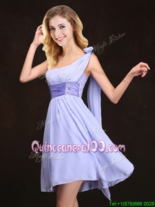 Adorable One Shoulder Sleeveless Dama Dress Mini Length Ruching and Hand Made Flower Lavender Chiffon