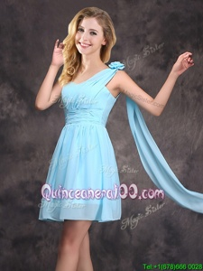 Custom Design Baby Blue Dama Dress for Quinceanera Prom and Party and Wedding Party and For withRuching and Hand Made Flower One Shoulder Sleeveless Zipper