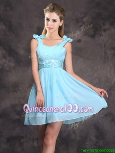 Luxurious Straps Straps Spring and Summer and Fall Chiffon Sleeveless Mini Length Dama Dress for Quinceanera andRuching and Bowknot