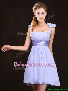 Straps Sleeveless Chiffon Quinceanera Dama Dress Ruching and Bowknot Zipper