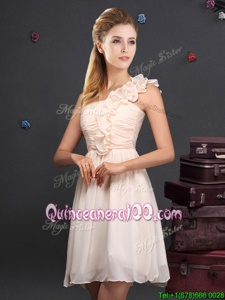 Fantastic One Shoulder Champagne Empire Ruffles and Ruching Quinceanera Dama Dress Zipper Chiffon Sleeveless Mini Length