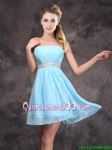 Popular Baby Blue Zipper Strapless Sequins and Ruching Quinceanera Court Dresses Chiffon Sleeveless