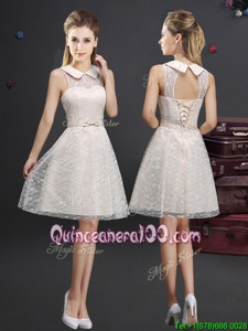Gorgeous Knee Length Champagne Damas Dress Lace Sleeveless Spring and Summer and Fall Lace and Appliques