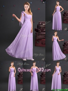 Colorful One Shoulder Lavender Chiffon Zipper Damas Dress Sleeveless Floor Length Ruching and Bowknot and Hand Made Flower