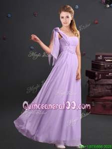 Deluxe One Shoulder Sleeveless Chiffon Floor Length Zipper Vestidos de Damas inLavender forSpring and Summer and Fall and Winter withRuching