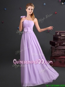 Super Lavender Chiffon Zipper One Shoulder Sleeveless Floor Length Court Dresses for Sweet 16 Ruching and Hand Made Flower