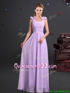Stunning Lavender Empire Straps Sleeveless Chiffon Floor Length Zipper Ruching and Hand Made Flower Quinceanera Dama Dress
