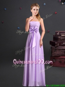 Flirting Strapless Sleeveless Quinceanera Court of Honor Dress Floor Length Ruching and Bowknot Lavender Chiffon