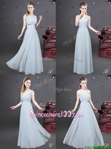 Artistic Floor Length Grey Quinceanera Court Dresses Chiffon Sleeveless Spring and Summer and Fall and Winter Ruching