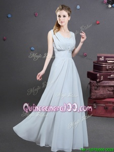 Chic Grey Empire Square Sleeveless Chiffon Floor Length Zipper Ruching Quinceanera Court of Honor Dress