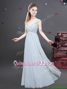 Spectacular One Shoulder Sleeveless Ruching Zipper Dama Dress for Quinceanera
