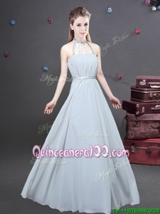 Affordable Halter Top Sleeveless Chiffon Dama Dress for Quinceanera Ruching Zipper