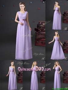 High End Floor Length Lace Up Quinceanera Dama Dress Lavender and In forProm and Party and Wedding Party withLace and Appliques and Belt