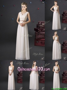 Glorious White Chiffon Lace Up Quinceanera Court Dresses Sleeveless Floor Length Lace and Appliques and Belt