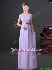 Cute Lavender Empire Lace and Belt Vestidos de Damas Lace Up Chiffon Sleeveless Floor Length