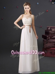 Low Price Floor Length Empire Sleeveless White Court Dresses for Sweet 16 Lace Up