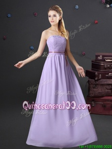 Lavender Strapless Lace Up Lace and Belt Quinceanera Court of Honor Dress Sleeveless